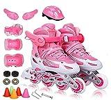 Articles De Sport Chaussures De Skate Roller Shoes Set Jouets pour Enfants Jouets De Sport Et Chaussures De Plein Air Patins pour Enfants Réglables,Pink-S