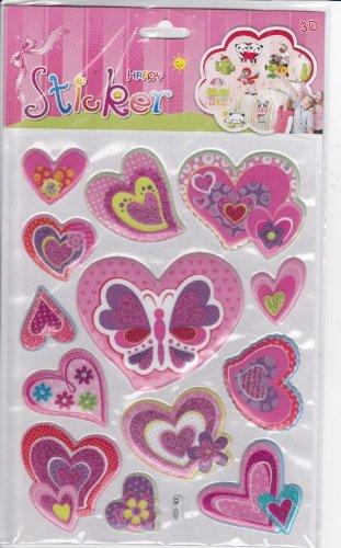 coeurs d'Amour 3D Decal autocollant de décalque 1 Dimensions de la feuille: 23 cm x 16