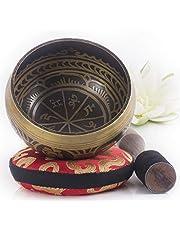 Silent Mind ~ Tibetaanse klankschaal set ~ Macht en Kracht Design ~ met dubbelzijdige hamer en zijden kussentje ~bevordert harmonie, chakra healing, en mindfulness ~ prachtig geschenk