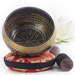 """Includes Antique Design 4"""" Singing Bowl, NEW Easy-Play Leather Pencil-Grip Striker, NEW Hand Sewn Non-Dampening Pillow. Play your singing bowl with EASE & create a LONGER LASTING beautiful sound with our NEW EXCLUSIVE designs. """"Exquisite in every way..."""
