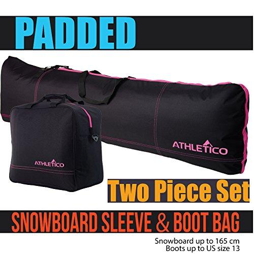 Athletico gepolsterte Snowboardtasche & Bootstasche Combo - Transportieren Sie Snowboard bis 165 cm und Stiefel bis Größe 47 (schwarz mit rosa Verzierung)