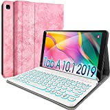 Wineecy Galaxy Tab A 10.1 2019 Keyboard Case[Backlit,SM-T510,SM-T515,SM-T517], 7 Color Light Detachable Wireless Keyboard with PU Folio Stand Cover for Samsung Galaxy Tab A 10.1 inch 2019, Pink