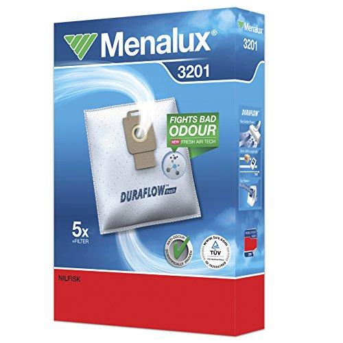 Menalux 3201 - Pack de 5 bolsas sintéticas y 1 filtro para aspiradoras Nilfisk Elite, Extreme, Power, Power Allergy y Select