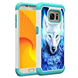 Galaxy S7 Case, Skyfree Shockproof Heavy Duty Protection Hard PC & Soft TPU Hybrid Dual Layer Protective Phone Case for Samsung Galaxy S7 (5.1', 2016),Blue Rose Wolf