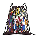 Undertale - Mochila clásica con cordón, para hombre y mujer, bolsa de yoga portátil, mochila deportiva, bolsa de almacenamiento de compras