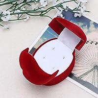 HSWYJJPFB アクセサリー 収納 ジュエリーケース ベルベットの婚約結婚式のカップルリングイヤリングジュエリー展示ストレージボックスケースレッド2.56x1.77inch (色 : Red)