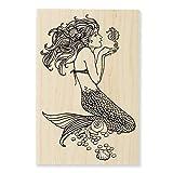 Stampendous Wood Handle Rubber Stamp, Mermaid Image