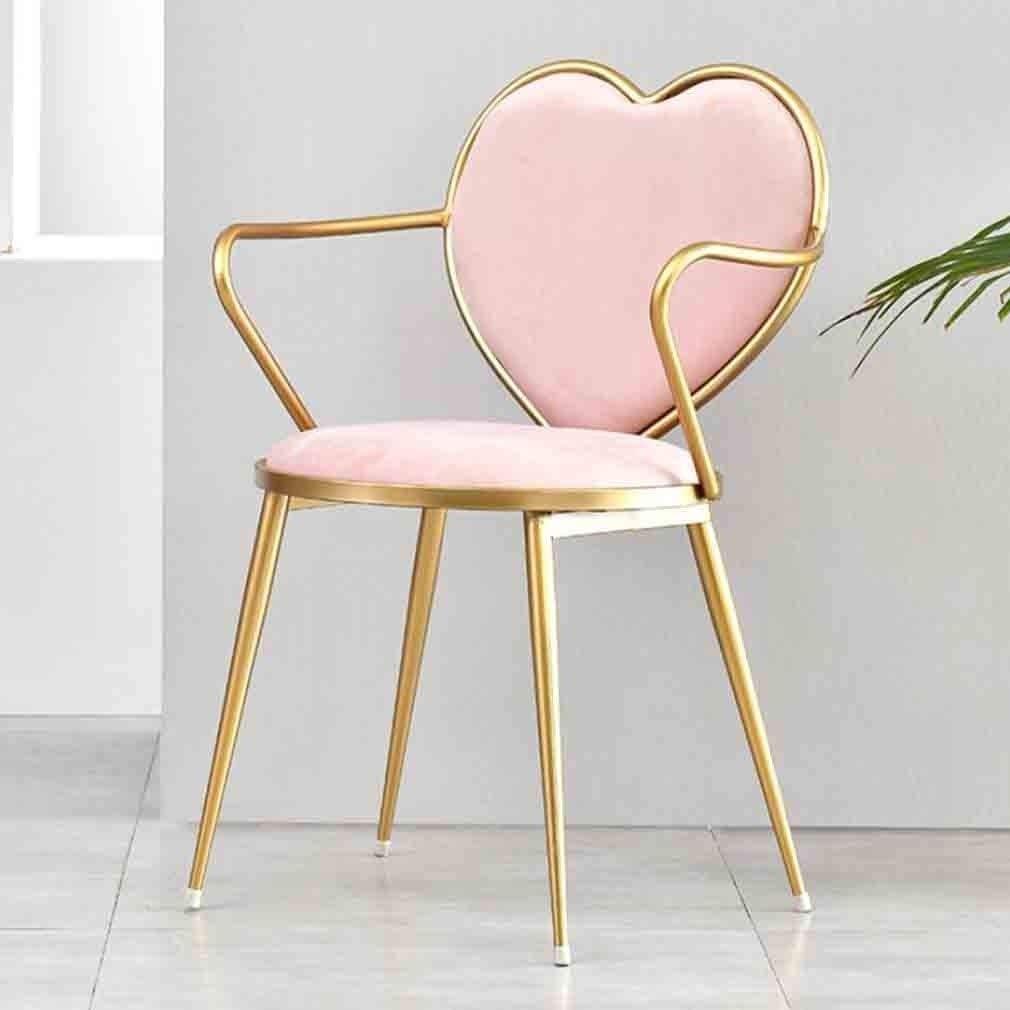 LXESWM Chaise Blanche Chaise À Dîner Moderne Minimaliste Fer Forgé Salle Chaise De Maquillage, for Cuisine Salon Chambre (Couleur : Dark Blue) Pink