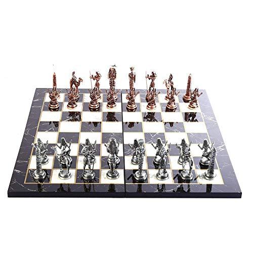 GiftHome Juego de ajedrez de metal con figuras de cobre antiguas del Antiguo Egipto para adultos, piezas hechas a mano y diseño de mármol, tablero de ajedrez de madera King 3.4