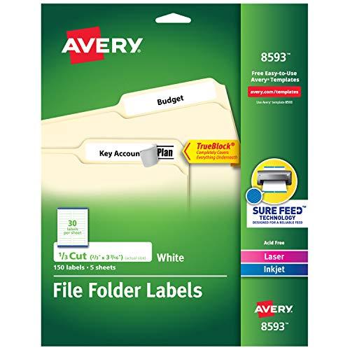 Avery Etiquetas de pasta de arquivo para impressoras a laser e jato de tinta com tecnologia TrueBlock, 2/3 x 8-7/16 polegadas, branco, 4 pacotes (8593)