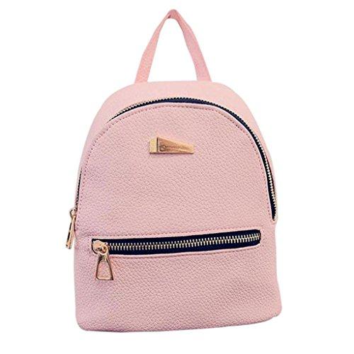 dragonaur Fashion Faux Leather Mini Backpack Girls Travel Handbag School Rucksack Bag Size Mini (Pink)