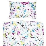 Pati'Chou April - Juego de Funda Nórdica Maxicuna, 2 piezas, 100% Algodón (funda de edredón 120x150 cm y 1 funda de almohada 40x60 cm), Diseño Floral, Multicolor
