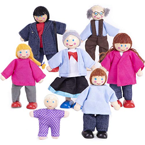 My Doll Family | Wooden Cloth Dolls Compatible with Most Doll Houses Perfect for Kids & Toddlers, Comes with 7 Dolls Great for Imaginative Play -  Brybelly Holdings, Inc., TDOL-301