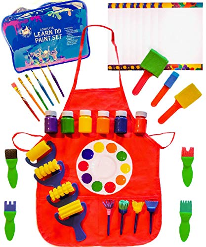 Kids Learn to Paint Set with Smock, Washable Finger Paint in 4 Colors, Foam Brushes for Kids, 48 Piece Set