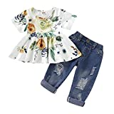 CARETOO Girls Clothes Outfits, Cute Baby Girl Floral Long Sleeve Pant Set Flower Ruffle Top (Green-2,...