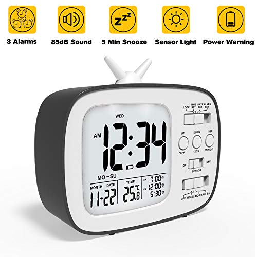 Mix Hero Battery Digital Alarm Clock, 3 Alarms with Workdays Setting,Loud Alarm,Snooze,Easy Opearte Handheld Size Travel Clock with Date,Indoor,Temperature,Sensor Backlight