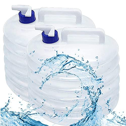FANDE 15-litros Bidon de Agua, Portátil y Plegable - Resistente, Sin BPA - Contenedores de Agua, Deposito de Agua para Camping Acampada Senderismo Escalada y Actividades al Aire Libre (2PCS)