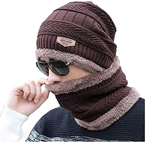 2 Pcs Cap and Scarf Imported Soft Warm Snow and Air Proof Fleece Knitted Cap Inside Fur Woolen Beanie Winter Cap with Scarf for Women Girl Ladies Brown
