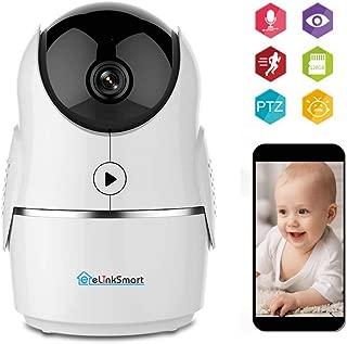 eLinkSmart 1080P FHD WiFi IP Camera Indoor Wireless Security Camera Motion Detection Night Vision Home Surveillance Monitor 2-Way Audio Baby/Pet/Elder Compatible with Alexa