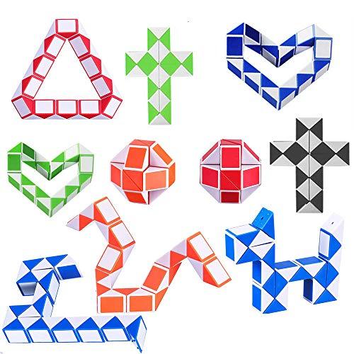 Mini Cubo de Serpiente de 10 Piezas,Mini Puzzle de Plástico Cubo de Juguete Magic Speed Cubes para Rellenadores de Bolsos de Fiesta para niños, Artículos para Fiestas(Color Aleatorio )
