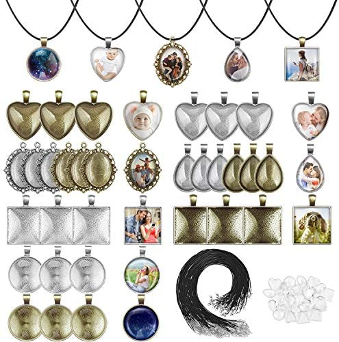Pendant Trays with Glass Cabochons for Jewelry Making Anezus 90pcs Pendants Trays Set Including product image