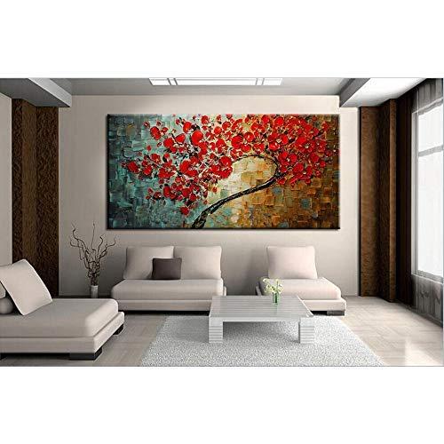 Gbwzz Astratta Fiore Rosso Albero Coltello Pittura a Olio su Tela Bella Immagine Wall Art Home Decor Bel Regalo, 70x140 cm