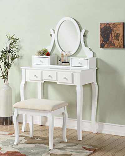 Roundhill Furniture Ashley Wood Make-Up Vanity Table and Stool Set, -