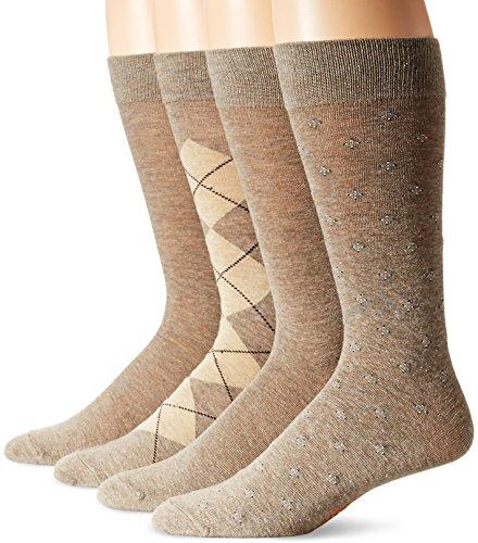 Dockers Men's 4 Pack Argyle Dress Socks, Light Brown Heather Assorted, Shoe Size: 6-12