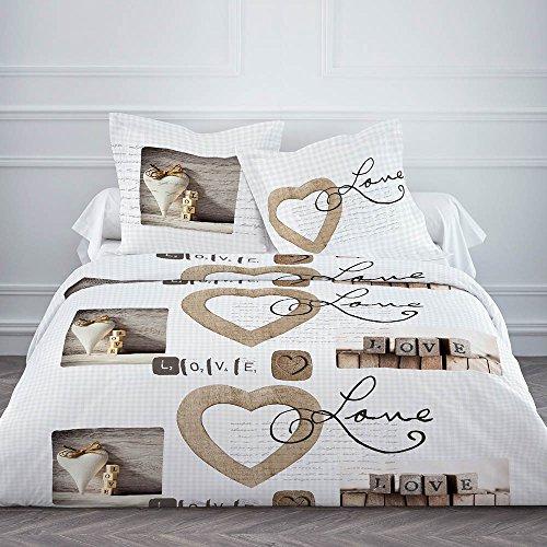 TODAY Housse de Couette 2 taies d'oreiller 63x63-LOVE Cottage, 100% Coton, Blanc/Beige, 220X240
