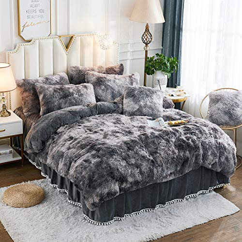 JAUXIO Luxury Abstract Faux Fur Bedding Set Tie Dye Printed Shaggy Duvet Cover with Pillow Shams Soft Crystal Velvet Reverse (King, Dark Grey)