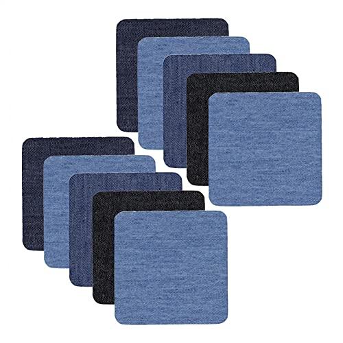 YEUCI Jeans-Aufnäher Aufbügeln innen und außen Stärkster Kleber Verschiedene Blautöne Reparatur-Dekoration Applikation Flicken Zum Aufbügeln Denim Patches Patch Sticker Kleidung Jeans Kleidung Patches