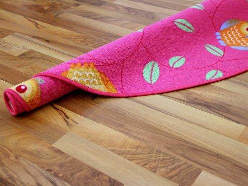 Kinderteppich Eule – rund (rosa) - 4