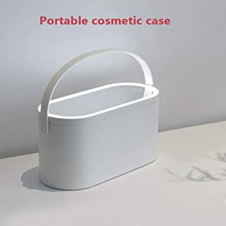 SJYDGQQ Makeup Case With LED Lighted Mirror - Portable Makeup Mirror Cosmetic Organizer Storage Box for Travel (white)