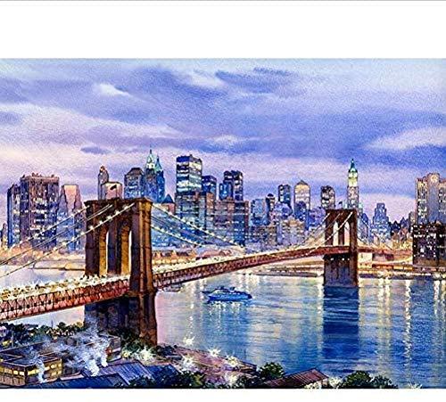 KELDOG® New York Brooklyn Bridge-puzzels, houten puzzel 1000 stukjes, doe-het-zelf-puzzelspeelgoed, uitdagende diy-puzzels Legpuzzelspel