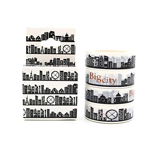 HSDUHDV Confezione Confezione Big City Nero Bianco Washi Tape Diy Masking Paper Tape Adesivo Scrapbooking Materiale Scolastico Di Cancelleria 10M * 15Mm
