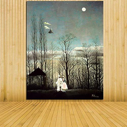 jiushivr Rahmenlos Promotion New No Fallout Decoracion Landschaft gedruckt Gemälde Henri Rousseau Carnival Night Surprise Leinwand für Raumdekor19.7x23.6inch