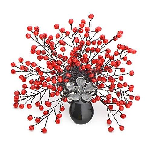 VNKHS broche handgemaakte rode en blauwe kristal bloemen broches vrouwen mannen natuurlijke steen vaas broche banket bruiloften broches