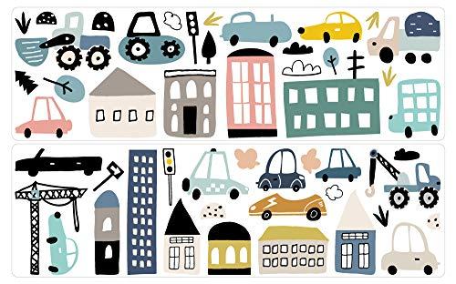 dekodino® Wandtattoo Pastell Fahrzeuge mit Stadt Wanddeko Set