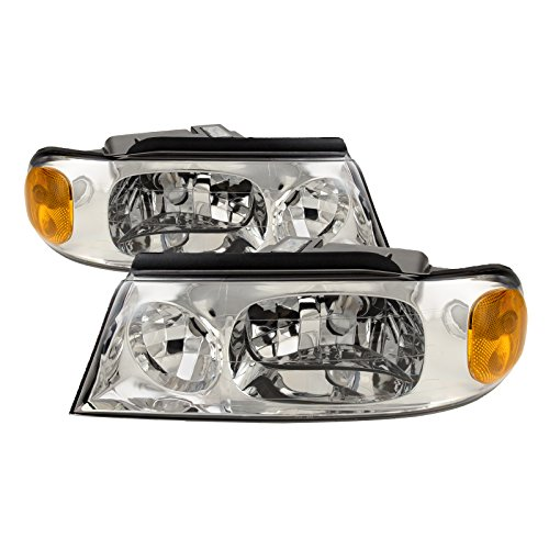 HEADLIGHTSDEPOT Chrome Housing Halogen Left and Right Headlights Pair Compatible With Holiday Rambler Vacationer 2003-2005