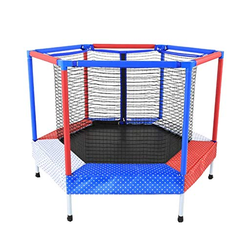 Great Price! JKLL Indoor/Outdoor Trampoline with Enclosure, 5-Feet Round by 40-Inch Tall, Red and Bl...