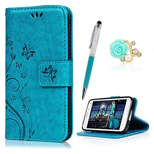 YOKIRIN S5 Mini Hülle Case Tasche Blau PU Leder Schmetterling Weinstock Handyhülle Wallet Schutzhülle Kunstlederhülle Handytasche Flipcase für Samsung Galaxy S5 Mini Bookstyle Ständer Kartenfächer