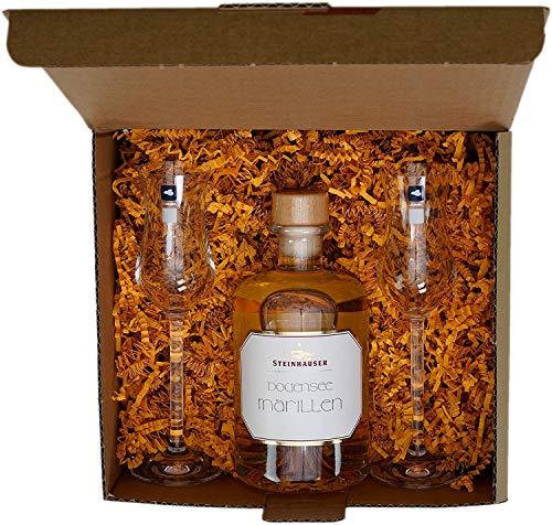Luxus Geschenkset: Bodensee Marille (Aprikosen) von Steinhauser (0.5 l) mit 2 Leonardo Gläsern | Der hocharomatische Marillenbrand in der Apothekerflasche und Geschenkbox