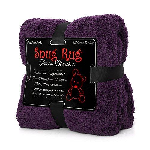 Snug Rug Véritable Couverture Chaude Throw Fleece Blanket Sherpa - Purple Violet