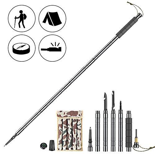 Bâton de Randonnée Pôle de trekking Bâton de marche en alliage d'aluminium antichoc antidérapant avec outdoor kit, tournevis, compas, silex.