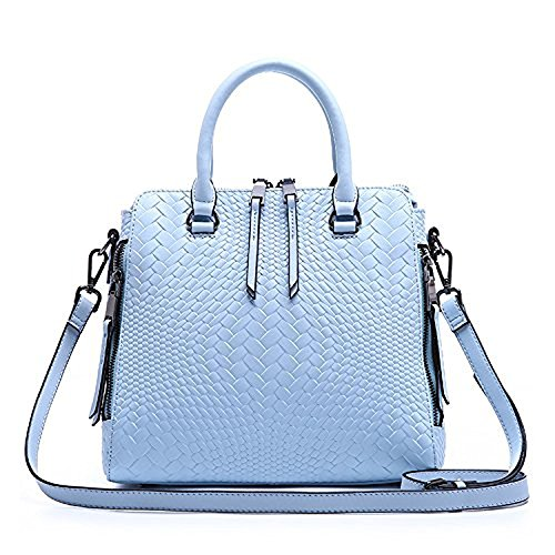 YSW European and American fashion handbags leather bags Light blue 24CM26CM10CM