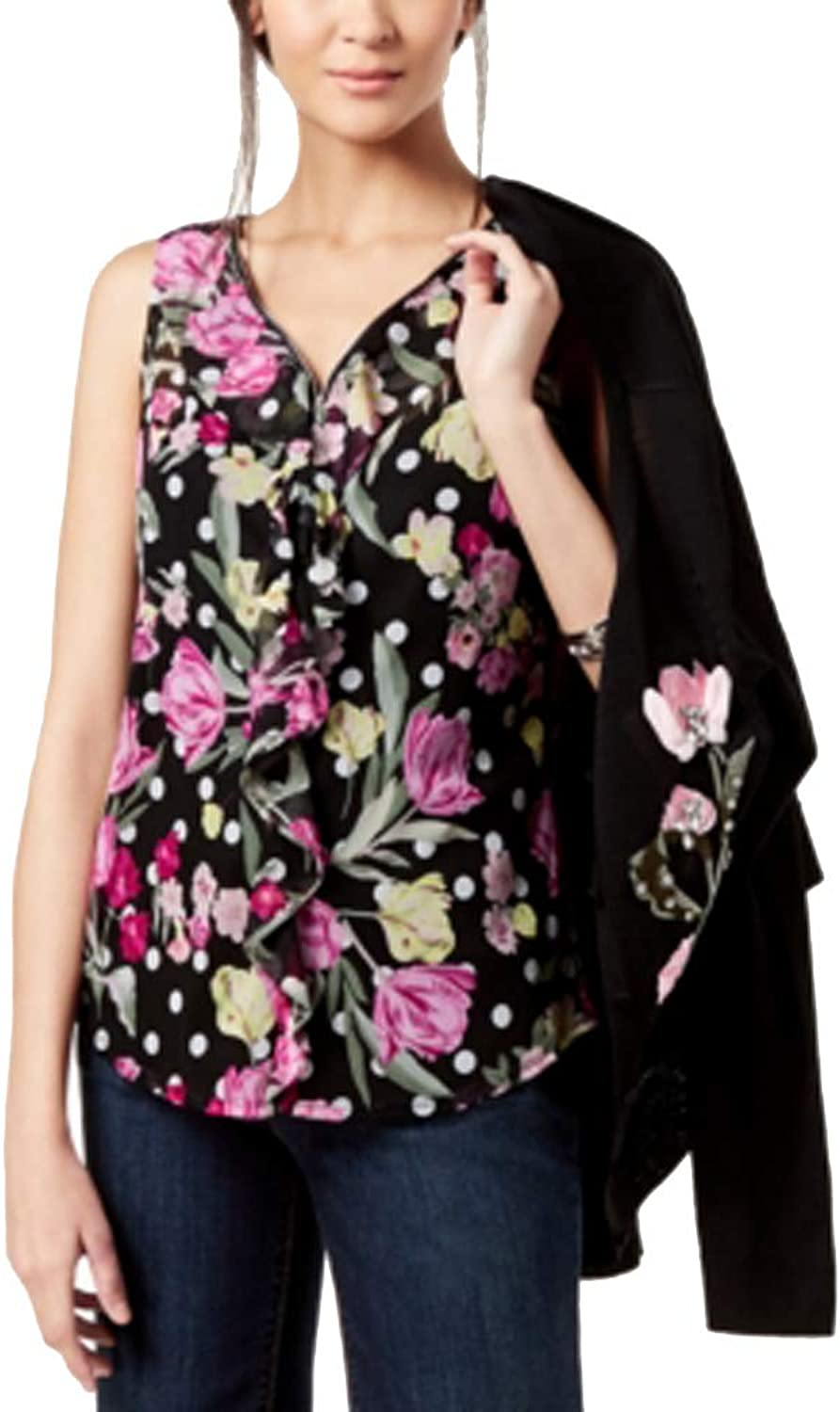 INC International Concepts Ruffled VNeck Top Dotted Tulips