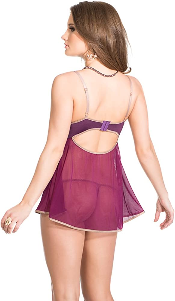 Coquette Womens Padded Cup Babydoll with G-String