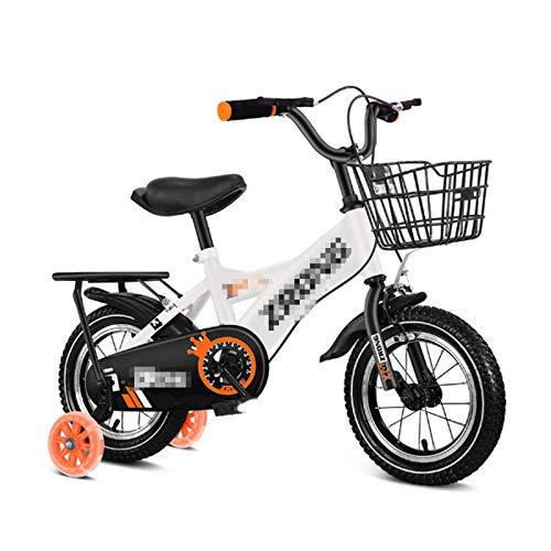 LIFON Bicicleta De Bikeschildren, 12,14,16,18 Tamaño, Bicicleta para Niños con Estabilizadores De Freno De Calibrador De Aluminio Y Freno De Backpedal,Blanco,16
