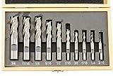 Shars 3/16' to 3/4' HSS Four Flute Single End Mill Set 10 PCS 404-5872 P}