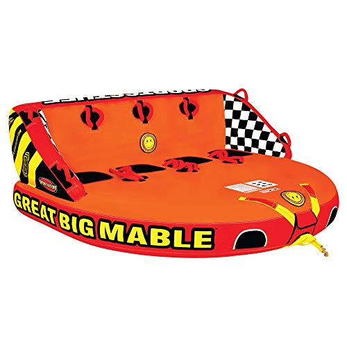 SportsStuff Great Big Mable | 14 Rider Towable Tube for Boating Orange Red Yellow